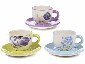 Cupe cafea cu farfurioara si decor flori 1